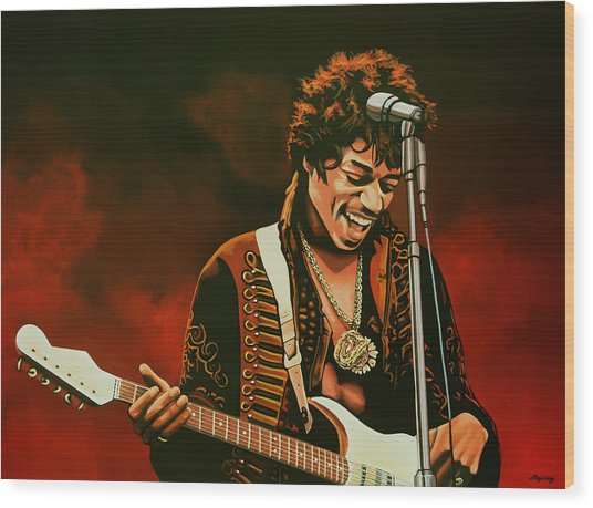 Jimi Hendrix Painting Wood Print