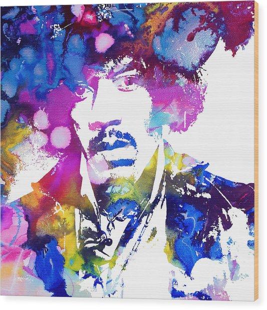 Jimi Hendrix - Stoned Wood Print