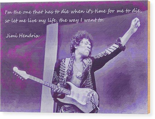 Jimi Hendrix Purp Wood Print