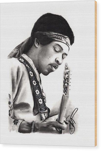 Jimi Hendrix Wood Print by Rosalinda Markle