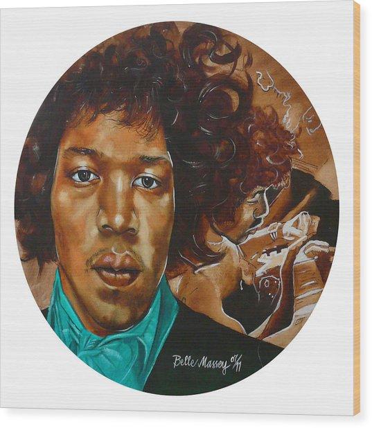 Jimi Hendrix W Wood Print