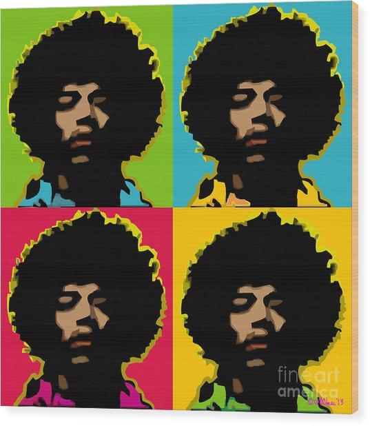 Jimi Hendrix 4-up Wood Print