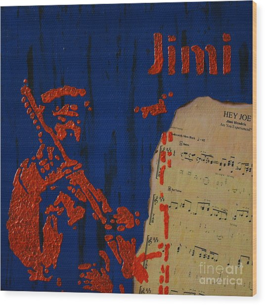 Jimi Wood Print