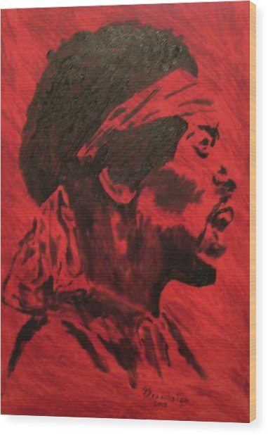 Jimi Wood Print by Mark Greenhalgh