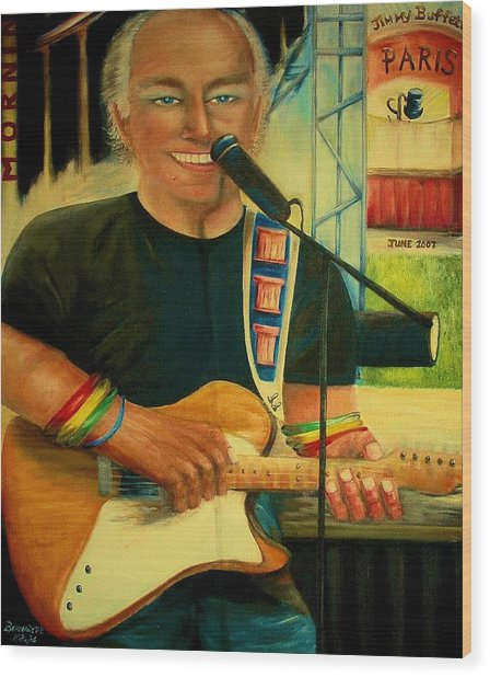 Jimmy Buffett In Paris Wood Print