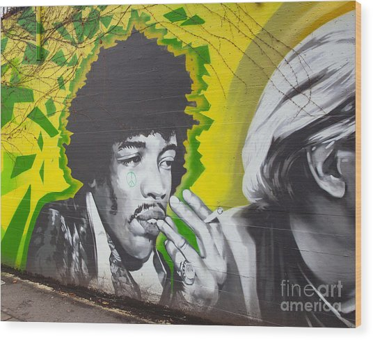 Jimmy Hendrix Mural Wood Print