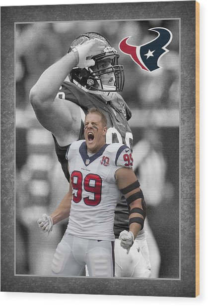 Jj Watt Texans Wood Print