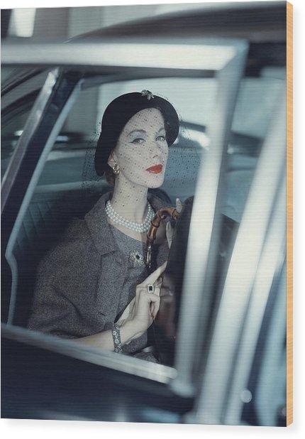 Joan Friedman In A Car Wood Print