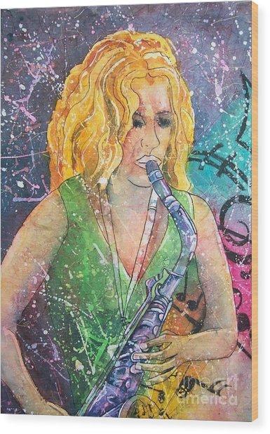 Jodi On Sax Wood Print