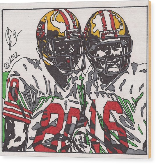Joe Montana And Jerry Rice Wood Print