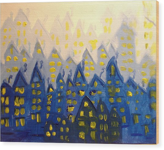 Joes Blue City Wood Print