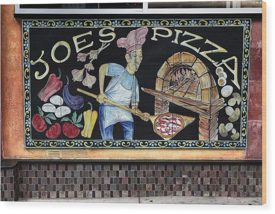 Joes Pizza Wood Print