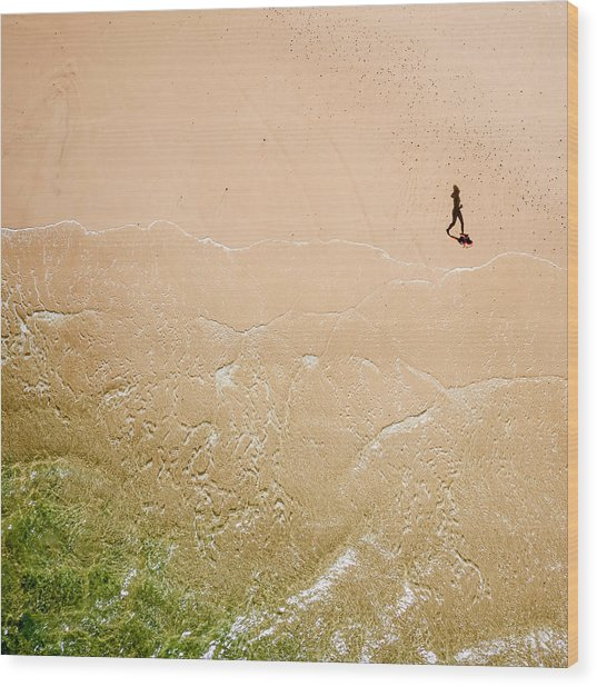 Jogger On Tallow Beach. Byron Bay. Australia. Wood Print