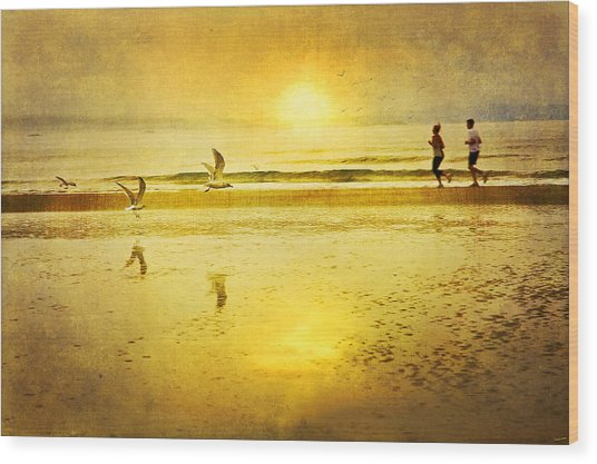Jogging On Beach With Gulls Wood Print