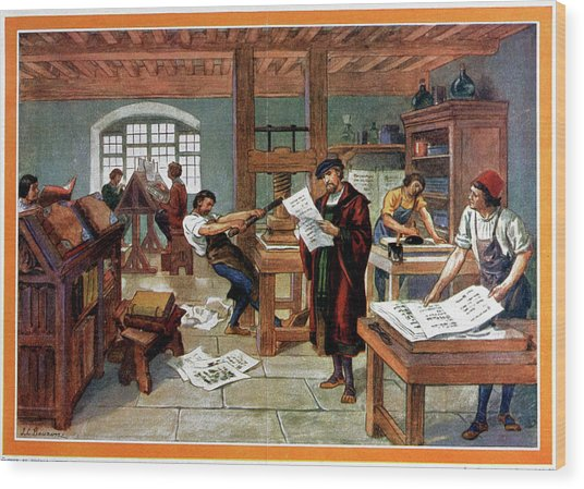 Johann Gutenberg's Printing Press Wood Print