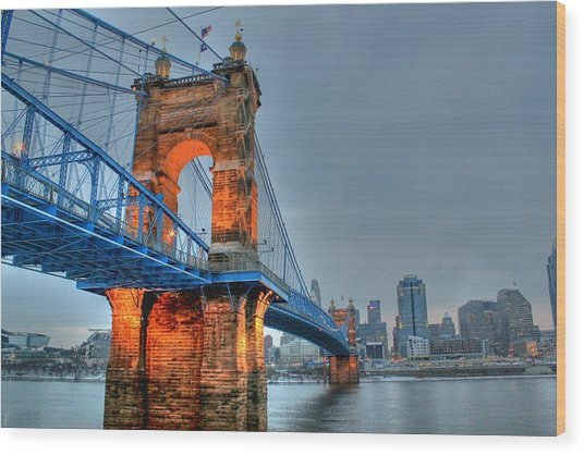 John A Roebling Suspension Bridge Cincinnati Ohio Wood Print