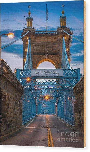 John A. Roebling Suspension Bridge Wood Print