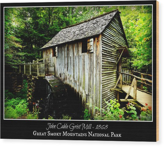 John Cable Grist Mill - Poster Wood Print