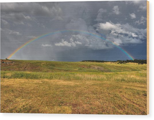 John Deer At The End Of The Rainbow Wood Print