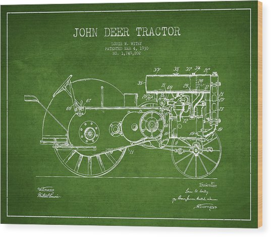 John Deer Tractor Patent Drawing From 1930 - Green Wood Print