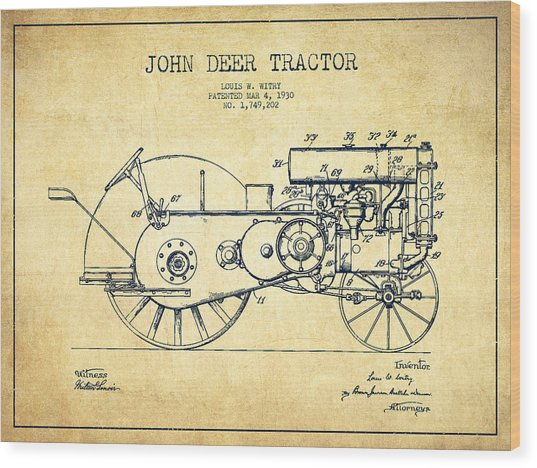 John Deer Tractor Patent Drawing From 1930 - Vintage Wood Print