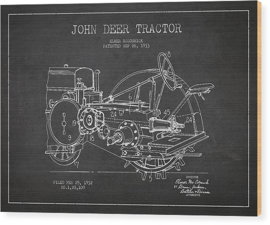John Deer Tractor Patent Drawing From 1933 Wood Print