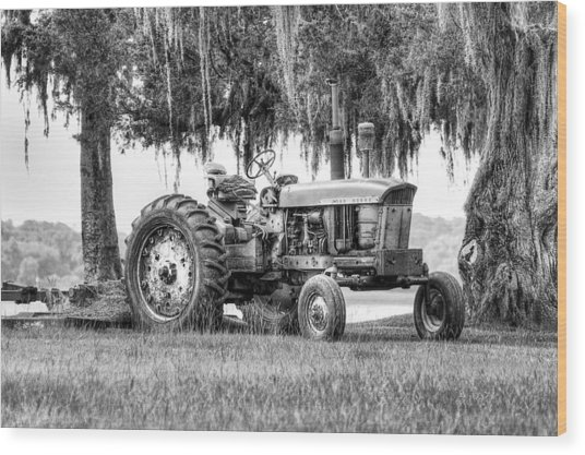 John Deer Tractor Under The Old Cedar Wood Print