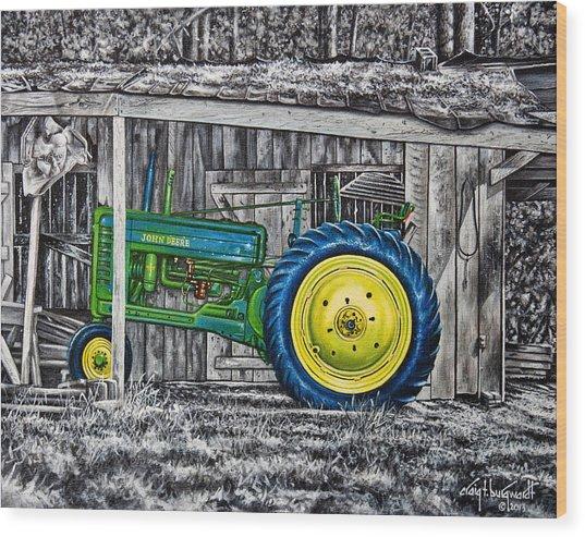 John Deere Green Wood Print