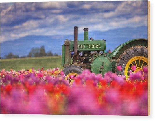 John Deere In The Tulips Wood Print