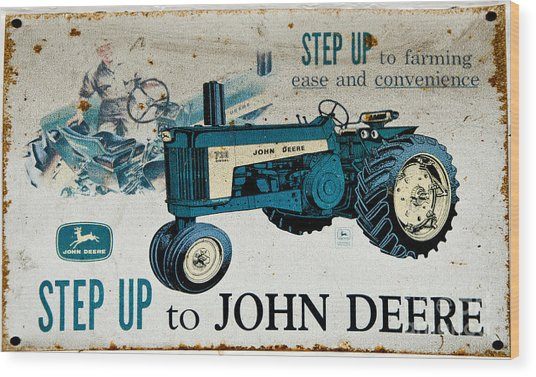 John Deere Tractor Sign Wood Print