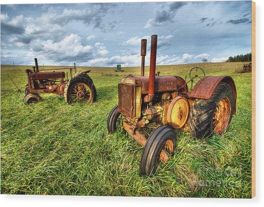 John Deere Tractors I - Blue Ridge Wood Print