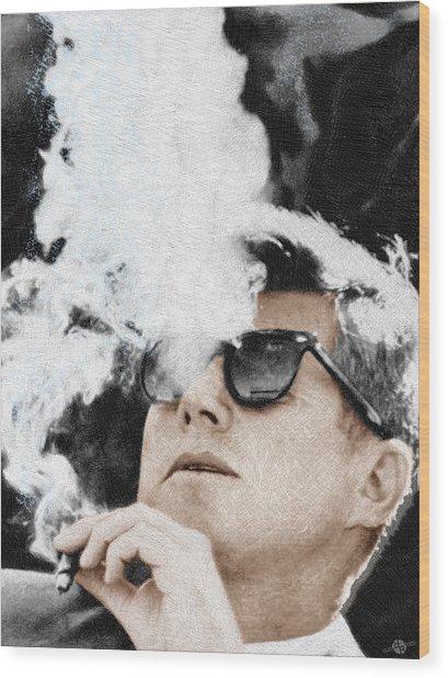John F Kennedy Cigar And Sunglasses Wood Print