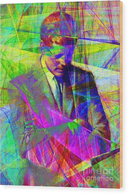 John Fitzgerald Kennedy Jfk In Abstract 20130610v2 Wood Print