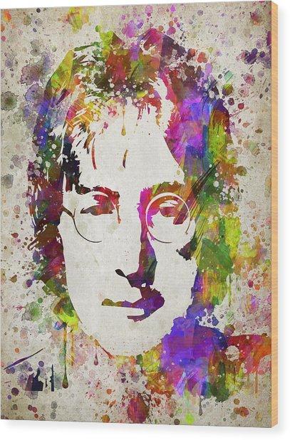 John Lennon In Color Wood Print