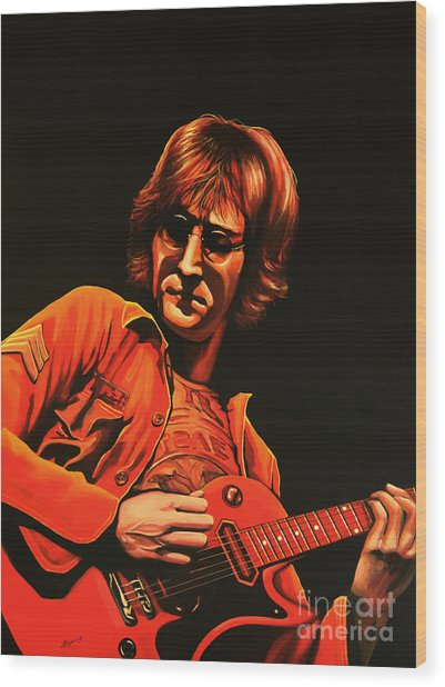 John Lennon Painting Wood Print