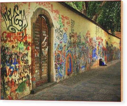 John Lennon Wall Wood Print