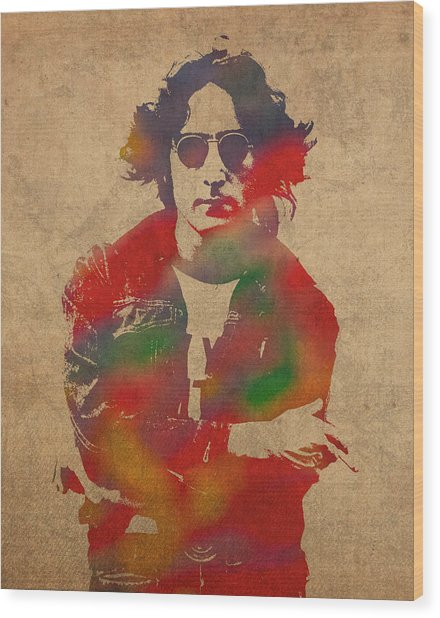 John Lennon Watercolor Portrait On Worn Distressed Canvas Wood Print