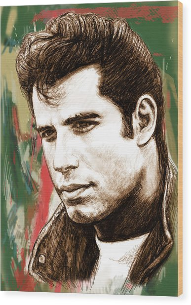 John Travolta - Stylised Drawing Art Poster Wood Print by Kim Wang