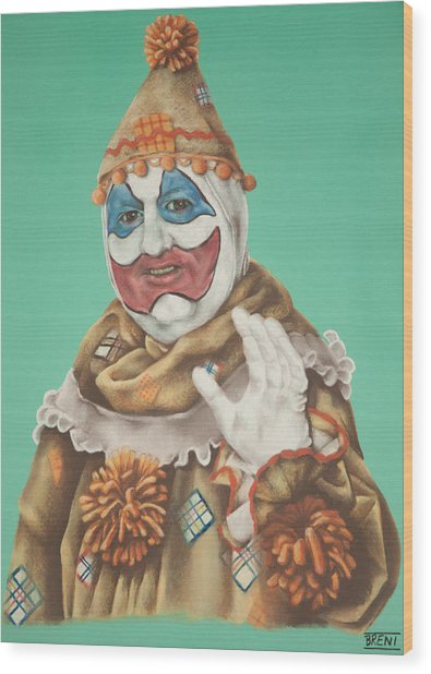 John Wayne Gacy As Pogo The Clown Wood Print