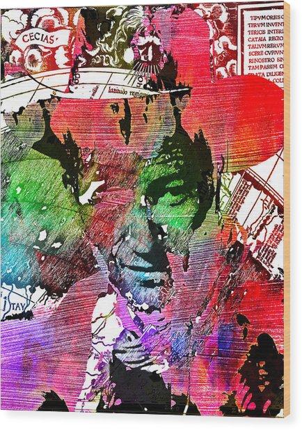 John Wayne Unmasked - Collage Wood Print
