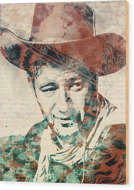 John Wayne Unmasked Wood Print