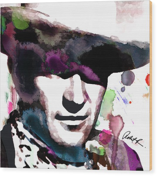 John Wayne Water Color Pop Art By Robert R Wood Print