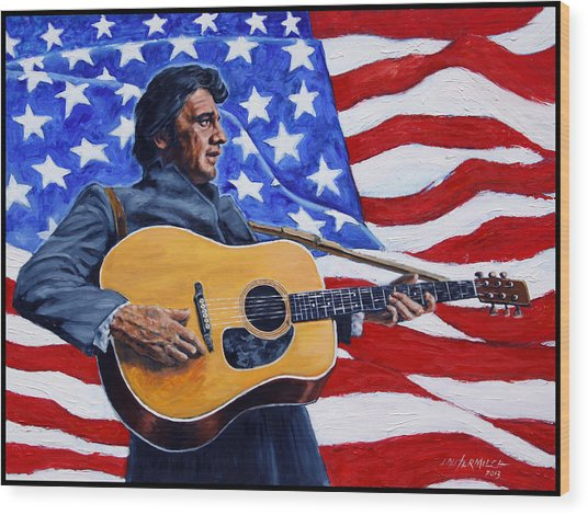 Johnny Cash Wood Print