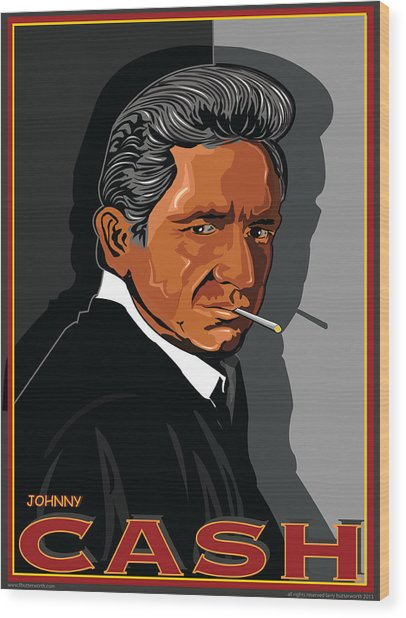 Johnny Cash Wood Print by Larry Butterworth