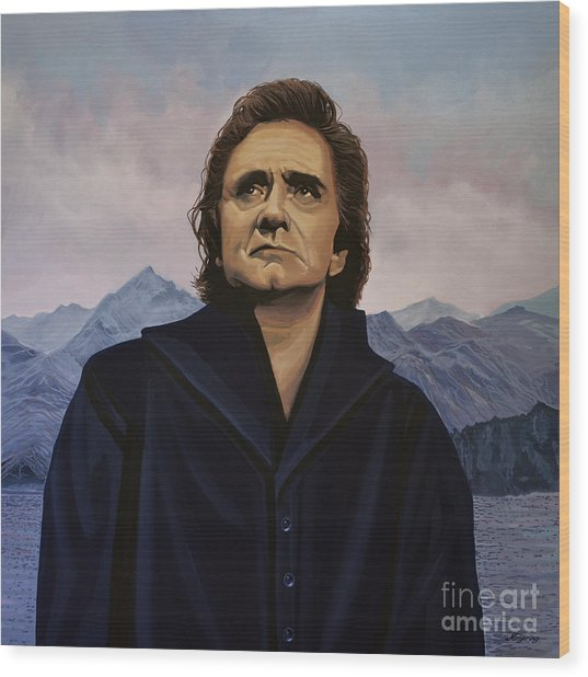 Johnny Cash Painting Wood Print