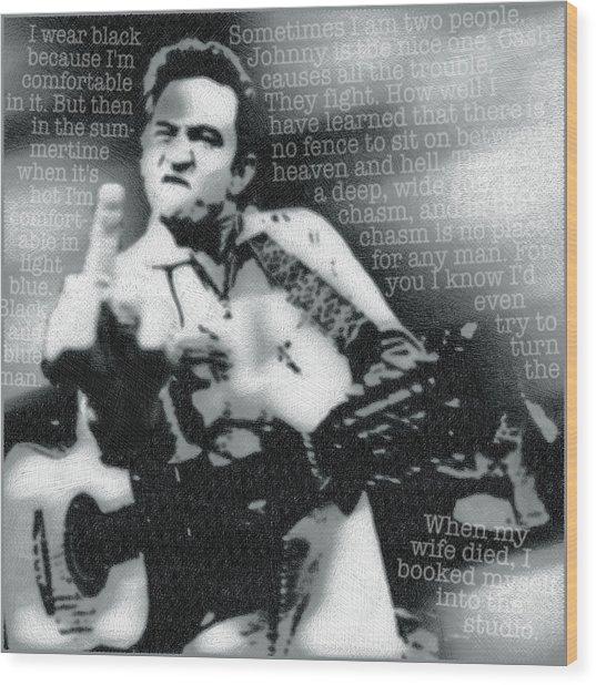Johnny Cash Rebel Wood Print