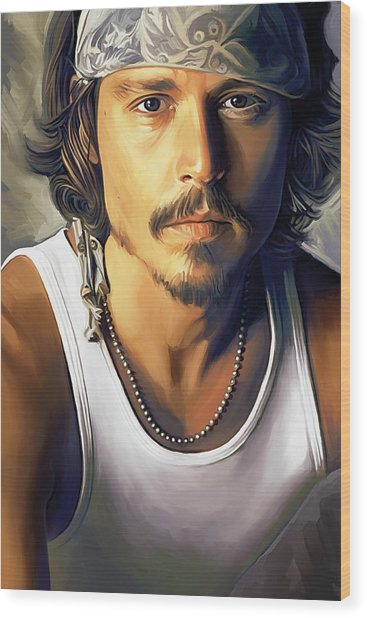 Johnny Depp Artwork Wood Print