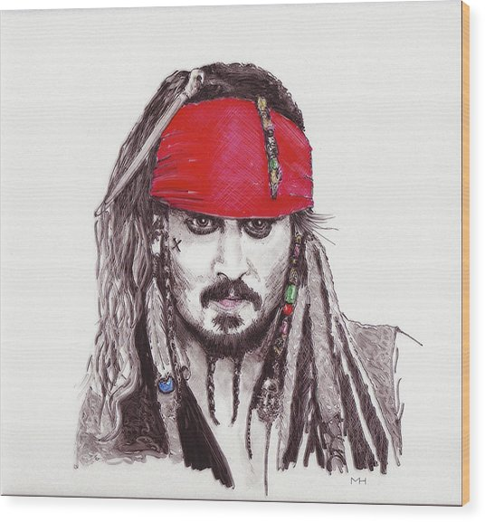 Johnny Depp As Jack Sparrow Wood Print by Martin Howard