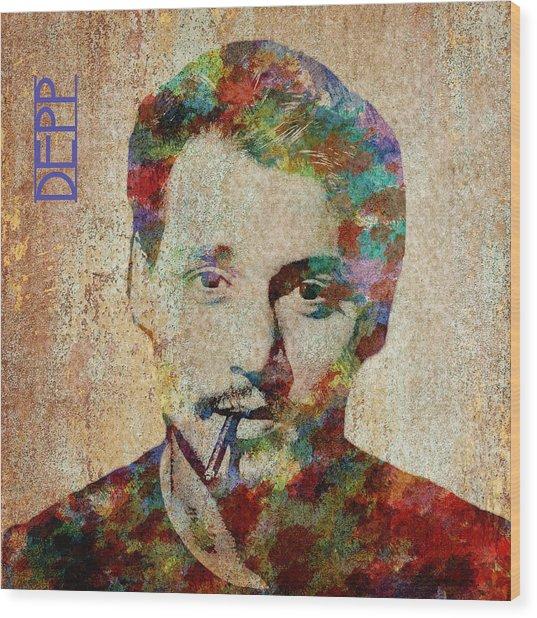 Johnny Depp Watercolor Splashes Wood Print
