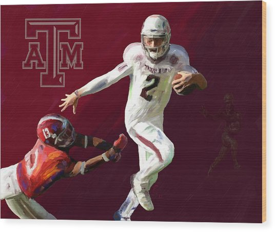 Johnny Football Wood Print by G Cannon